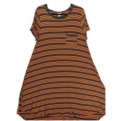 LuLaRoe CARLY Large L Charcoal Dary Gray Orange Stripe Swing Dress fits Women 14-16