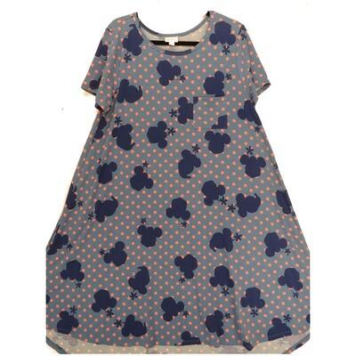 LuLaRoe CARLY Large L Disney Mickey Minnie Mouse Polka Dot Light Dark Blue Pink Swing Dress fits Women 14-16