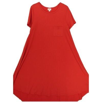 LuLaRoe CARLY Medium M Solid Hot Pink Swing Dress fits Women 10-12