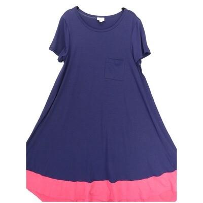 LuLaRoe CARLY Medium M Solid Navy Pink Swing Dress fits Women 10-12