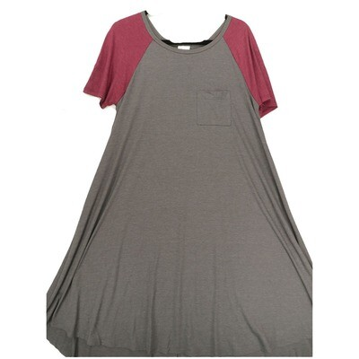 LuLaRoe CARLY Medium M Solid Dark Gray with Maroon Sleeves Swing Dress fits Women 10-12