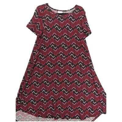 LuLaRoe CARLY Medium M Chevron Zig Zag Stripe Dark Purple Pink Swing Dress fits Women 10-12