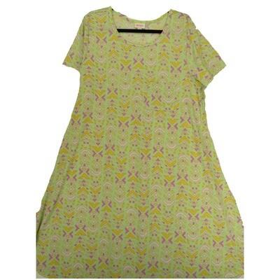 LuLaRoe CARLY XX-Large 2XL Geometric Chevron Yellow Lavender Pink Swing Dress fits Women 22-24
