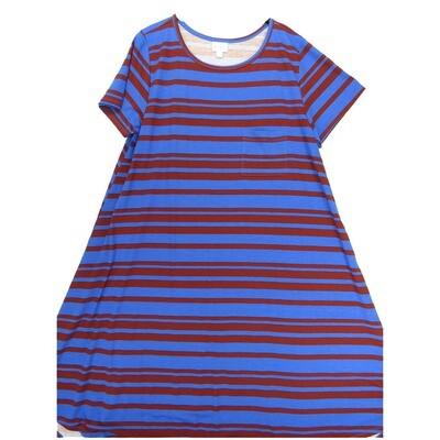 LuLaRoe CARLY XX-Large 2XL Blue Maroon Stripe Swing Dress fits Women 22-24