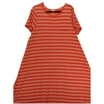 LuLaRoe CARLY XXX-Large 3XL Red Pink Ribbed Striped Swing Dress fits Women 26-28