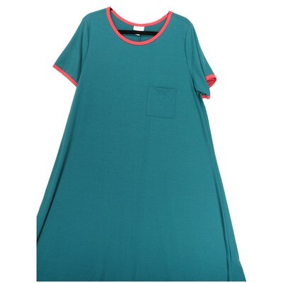 LuLaRoe CARLY XX-Large 2XL Solid Turquoise with Pink Trim Swing Dress fits Women 22-24