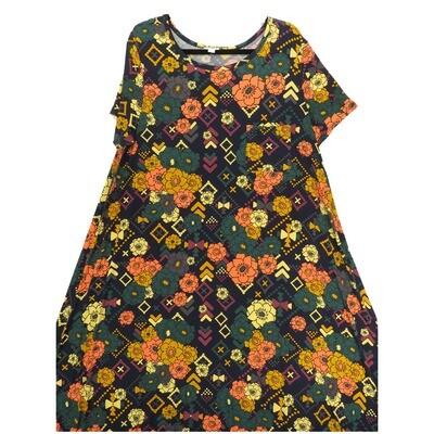 LuLaRoe CARLY XX-Large 2XL Floral Black Pink Mustard Swing Dress fits Women 22-24