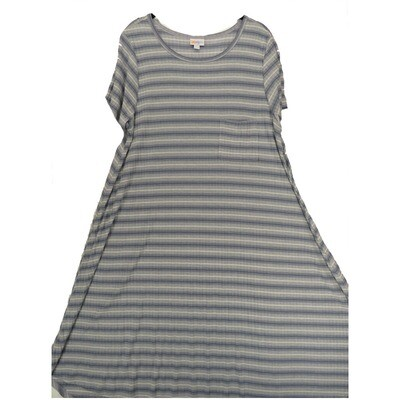 LuLaRoe CARLY XX-Large 2XL Black White Gray Ribbed Stripe Swing Dress fits Women 22-24