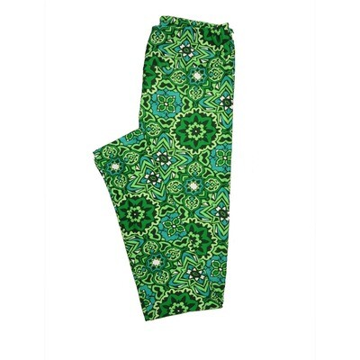 LuLaRoe One Size OS Mandala Lucky Irish St Patricks Green Black Teal Leggings fits 2-10