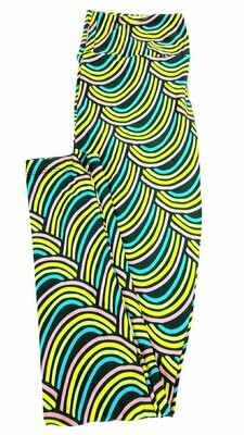 LuLaRoe One Size OS Rainbow Lucky Irish St Patricks Dark Blue Green Yellow Leggings fits sizes 2-10