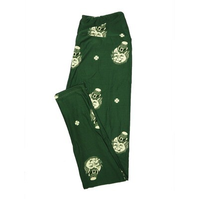 LuLaRoe One Size OS Smiling Leprechaun 4 Leaf Clover Lucky Irish St Patricks Notre Dame Green Leggings fits 2-10