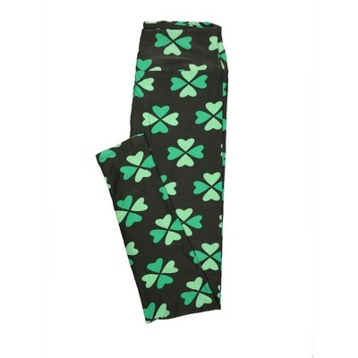 LuLaRoe One Size OS Two Tone Shamrock 4 Leaf Clover Lucky Irish St Patricks Notre Dame Dark Light Green Leggings fits 2-10