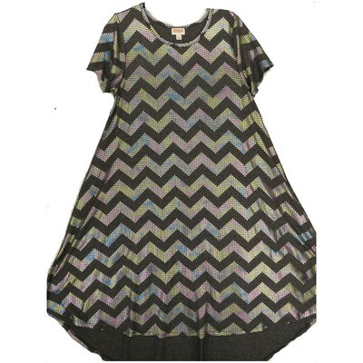 LuLaRoe CARLY Small S Elegant Collection Dark Gray Rainbow Sparkle Swing Dress fits Women 6-8