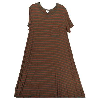 LuLaRoe CARLY Medium M Gray Maroon Stripe Swing Dress fits Women 10-12