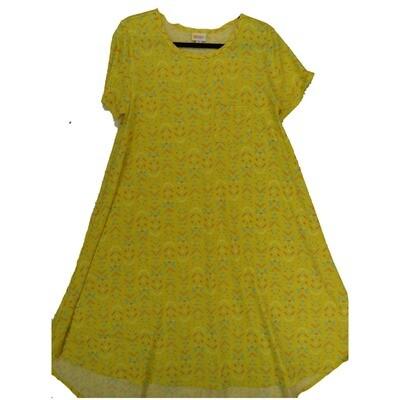 LuLaRoe CARLY Medium M Geometric Yellow Blue Pink Swing Dress fits Women 10-12