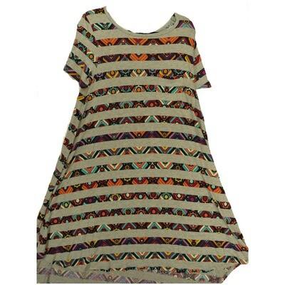 LuLaRoe CARLY Medium M Floral Stripe Gray Teal Multicolor Swing Dress fits Women 10-12