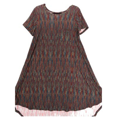 LuLaRoe CARLY Medium M Geometric Stripe Maroon Teal Gold Swing Dress fits Women 10-12