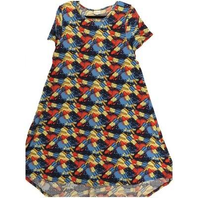 LuLaRoe CARLY Medium M Americana Bombpops Icepops Red White Blue Swing Dress fits Women 10-12