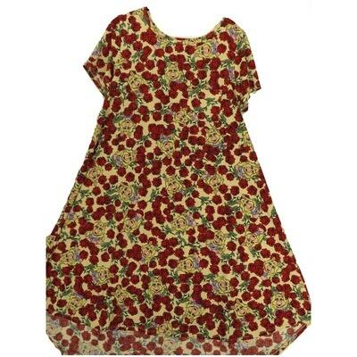 LuLaRoe CARLY Medium M Disney Ms Piggy Rose Cream Roses Swing Dress fits Women 10-12