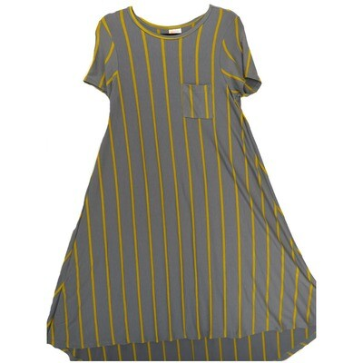 LuLaRoe CARLY X-Small XS Blue Gray with Gold Stripes Swing Dress fits Women 2-4
