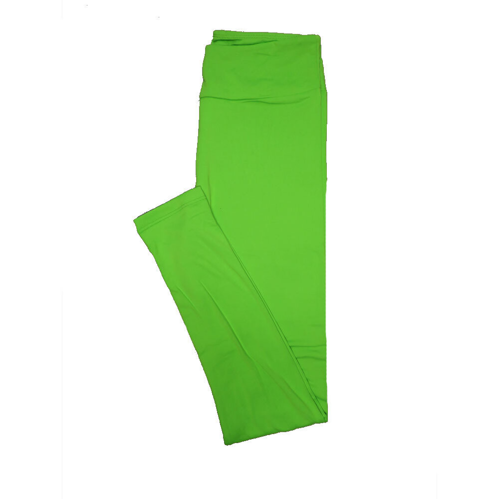 LuLaRoe One Size OS Solid Neon Lime Green (257513) Womens Leggings fits Adult sizes 2-10