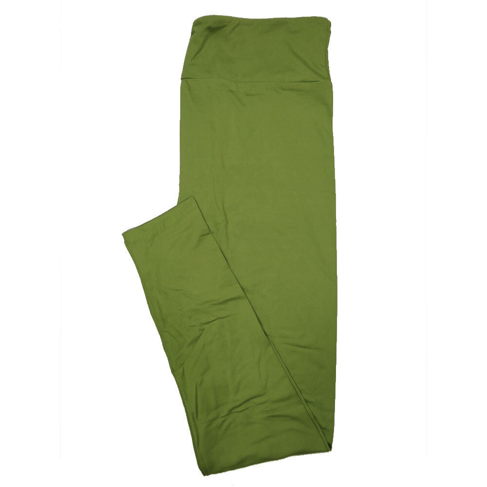 LuLaRoe One Size OS Solid Olive Green (385-49070) Womens Leggings fits Adult sizes 2-10