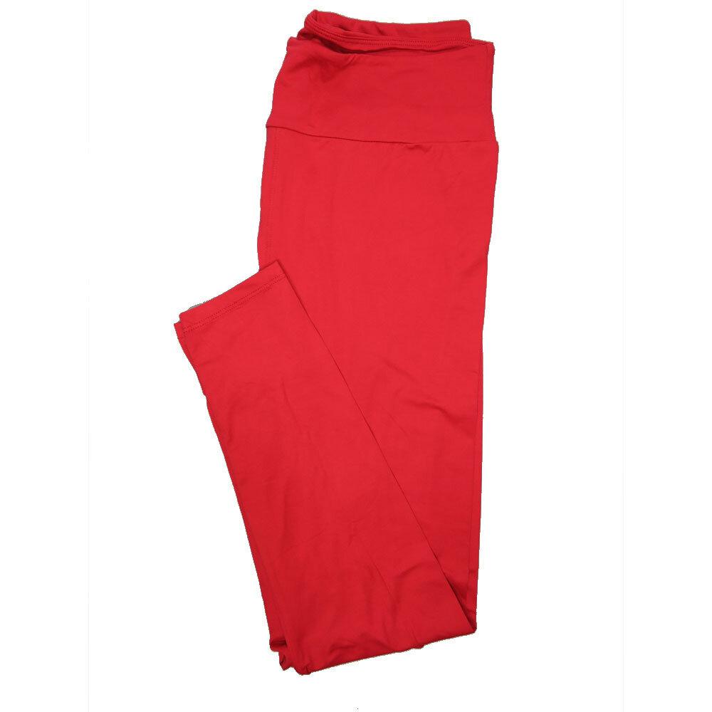 LuLaRoe Tall Curvy TC Solid Red Womens Leggings fits Adult sizes 12-18