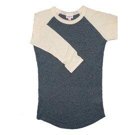 LuLaRoe RANDY XX-Small Heathered Blue with Off White Raglan Sleeve Unisex Baseball Tee Shirt - XXS fits 00-0