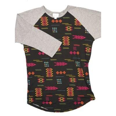 LuLaRoe RANDY Small Black Yellow Fucshia Aztek Geometric  with Gray Raglan Sleeve Unisex Baseball Tee Shirt - S fits 6-8