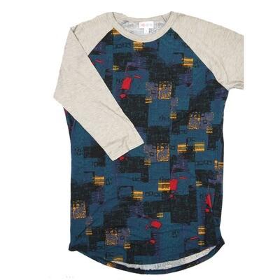 LuLaRoe RANDY Small Black Blue Gold Red Geometric with Gray Raglan Sleeve Unisex Baseball Tee Shirt - S fits 6-8