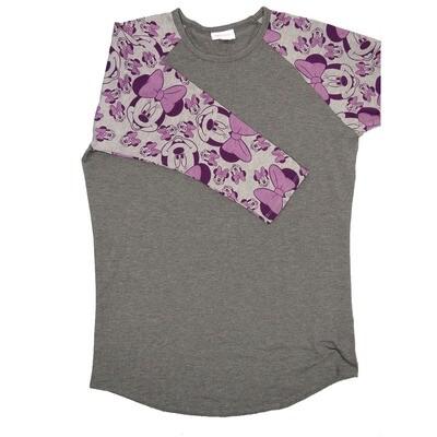 LuLaRoe RANDY Small Disney Dark Gray with Light Gray Purple Minnie Mouse Raglan Sleeve Unisex Baseball Tee Shirt - S fits 6-8