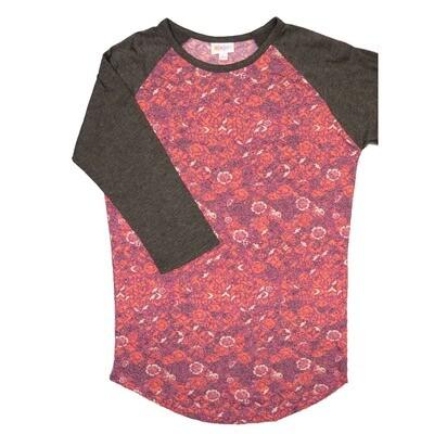 LuLaRoe RANDY Small Coral Pink Gray Floral with Gray Raglan Sleeve Unisex Baseball Tee Shirt - S fits 6-8