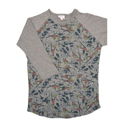 LuLaRoe RANDY Small Disney Mickey Mouse Gray with Gray Raglan Sleeve Unisex Baseball Tee Shirt - S fits 6-8
