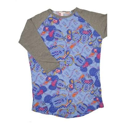 LuLaRoe RANDY Small Disney Mickey Mouse Purple Polka Dot with Gray Raglan Sleeve Unisex Baseball Tee Shirt - S fits 6-8