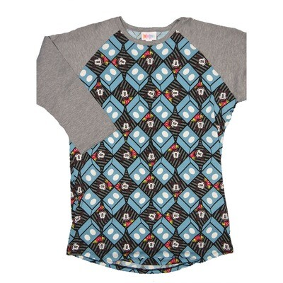 LuLaRoe RANDY Small Disney Mickey Mouse Slate Blue Gray Black Geometric Blocks with Gray Raglan Sleeve Unisex Baseball Tee Shirt - S fits 6-8
