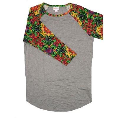 LuLaRoe RANDY Small Gray with Yellow Purple Lime Green Floral Raglan Sleeve Unisex Baseball Tee Shirt - S fits 6-8