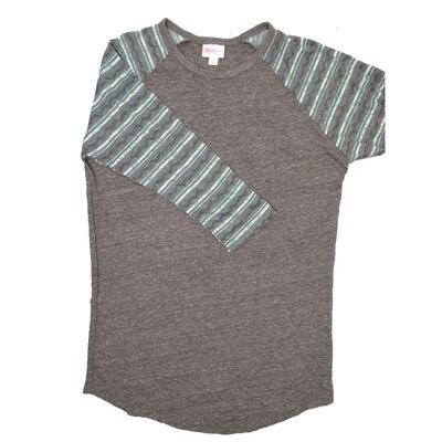 LuLaRoe RANDY Small Heathered Dark Gray with Dark Turquoise Black Raglan Sleeve Unisex Baseball Tee Shirt - S fits 6-8