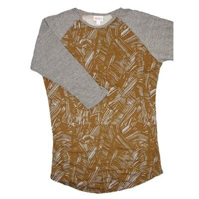 LuLaRoe RANDY Small Light Brown Gray Geometric with Gray Raglan Sleeve Unisex Baseball Tee Shirt - S fits 6-8
