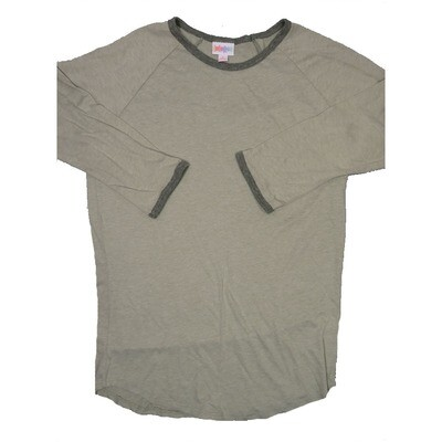 LuLaRoe RANDY Small Light Khaki with Olive Trim Raglan Sleeve Unisex Baseball Tee Shirt - S fits 6-8