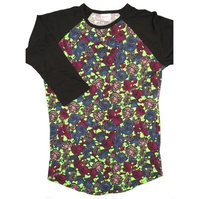 LuLaRoe RANDY Small Lime Green Fucshia Pink Black Roses with Black Raglan Sleeve Unisex Baseball Tee Shirt - S fits 6-8