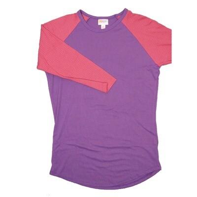 LuLaRoe RANDY Small Ribbed Purple with Pink Purple Stripe Raglan Sleeve Unisex Baseball Tee Shirt - S fits 6-8