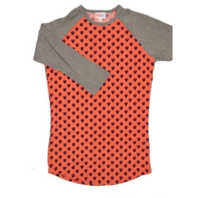 LuLaRoe RANDY XX-Small Disney Minnie Mouse Polka Dot Coral Cream with Maroon Raglan Sleeve Unisex Baseball Tee Shirt - XXS fits 00-0