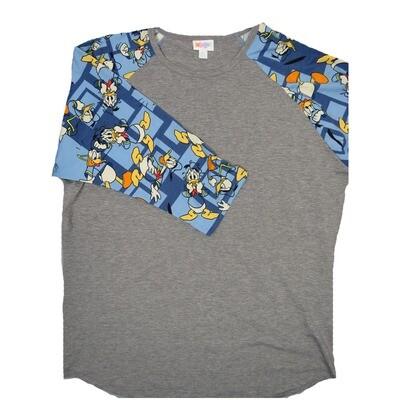 LuLaRoe RANDY XX-Large Disney Gray with Light Blue Donald Duck White Yellow Raglan Sleeve Unisex Baseball Tee Shirt - XXL fits22-24
