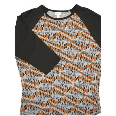 LuLaRoe RANDY XXX-Large Disney Multiple Minnie Mouse Gray Orange Black with Black Raglan Sleeve Unisex Baseball Tee Shirt - XXXL fits 24-26