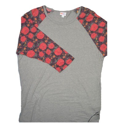 LuLaRoe RANDY XX-Large Gray with Roses Gray Red Pink Raglan Sleeve Unisex Baseball Tee Shirt - XXL fits22-24