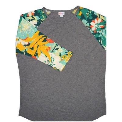 LuLaRoe RANDY XX-Large Gray with Green ornge Yellow Floral Raglan Sleeve Unisex Baseball Tee Shirt - XXL fits22-24