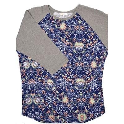 LuLaRoe RANDY XX-Large Dark Purple Lavender Peach Geometric with Gray Raglan Sleeve Unisex Baseball Tee Shirt - XXL fits22-24