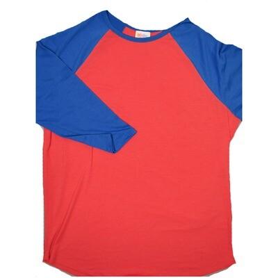 LuLaRoe RANDY XX-Large Bright Pink with Bright Blue Raglan Sleeve Unisex Baseball Tee Shirt - XXL fits22-24