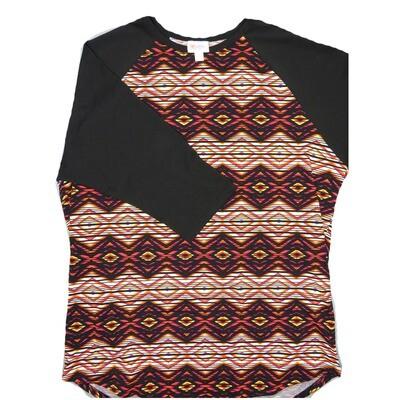 LuLaRoe RANDY XX-Large Black White Fucshia Geometric with Black Raglan Sleeve Unisex Baseball Tee Shirt - XXL fits22-24