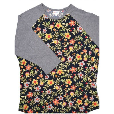 LuLaRoe RANDY XX-Large Dark Navy Green Coral Yellow Floral with Gray Raglan Sleeve Unisex Baseball Tee Shirt - XXL fits22-24
